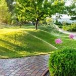 Sistema automatico di irrigazione del giardino con diversi irrigatori installati sotto il manto erboso. Progettazione paesaggistica con colline a prato e frutteto irrigati con irroratrici autonome intelligenti al tramonto della sera